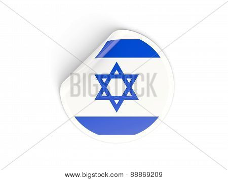 Round Sticker With Flag Of Israel