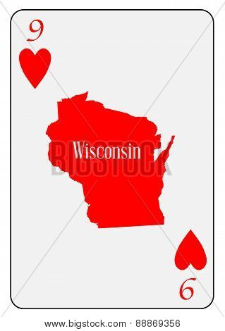 Usa Playing Card 9 Hearts