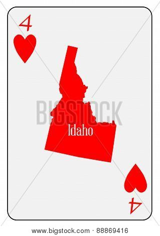 Usa Playing Card 4 Hearts