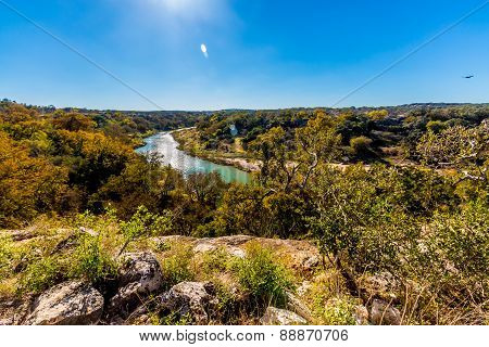 View Of The Texas Pedernales River From A High Bluff.  With Fall Foliage.