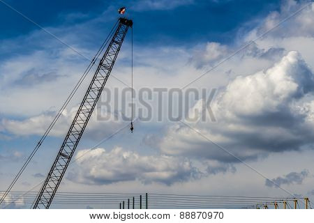 A Large Industrial Crane Boom with Hook