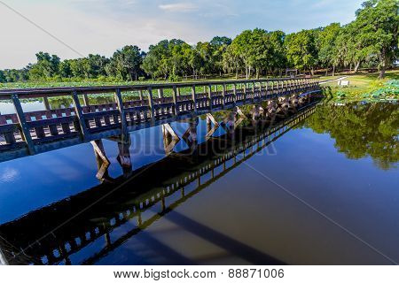 An Interesting Perspective of a Wooden Bridge or Fishing Dock on a Summer Day.