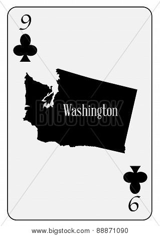 Usa Playing Card 9 Clubs
