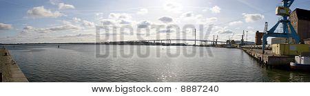 Stralsund with bridge Rügenbrücke and Baltic sea