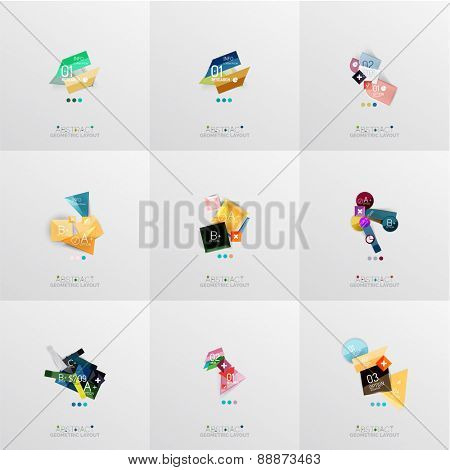 Set of paper graphic layouts. Universal presentation, message board or option infographic template