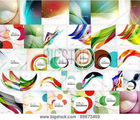 Mega set of wave abstract backgrounds - swirls, circles, geometric shapes and lines. Message board