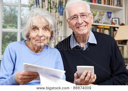 Portrait Of Smiling Senior Couple Reviewing Home Finances