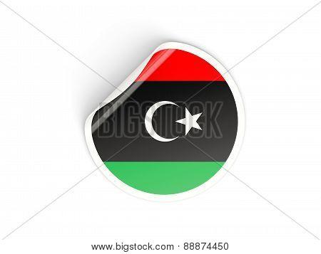Round Sticker With Flag Of Libya