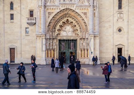 ZAGREB, CROATIA - 11 MARCH 2015: The Zagreb Cathedral with locals and tourist in front of it.