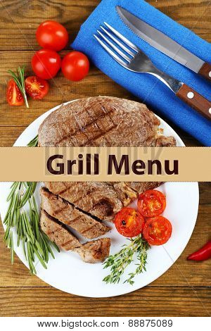Delicious grilled meat served on plate and space for text