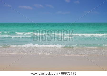 Tropical nature clear water beach with blue sky.