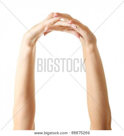 Female hands isolated on white