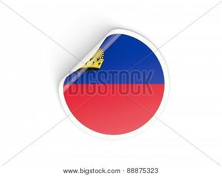 Round Sticker With Flag Of Liechtenstein