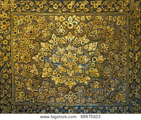 Golden Thai Decorative Carve Artistic Pattern From Thai Temple (general Art Thai Temple)