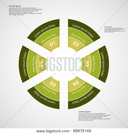 Round Infographic Consists Of Six Green Parts