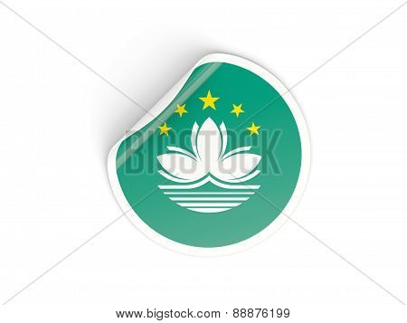 Round Sticker With Flag Of Macao