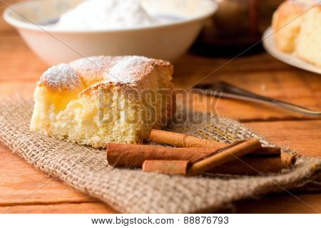 Single Portion Of Curd Cake On Jute Cloth