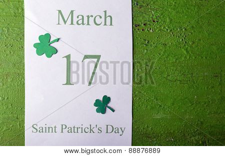St. Patrick Date on calendar on wooden background
