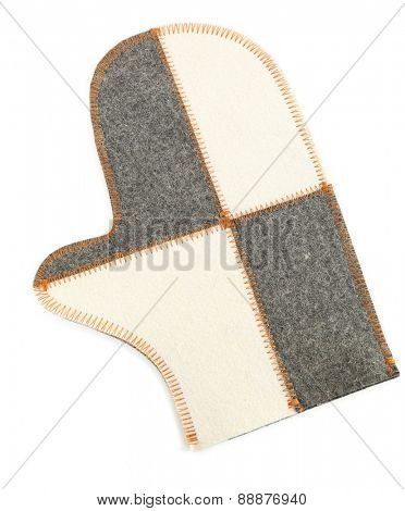 Felt mitten for sauna, isolated on white