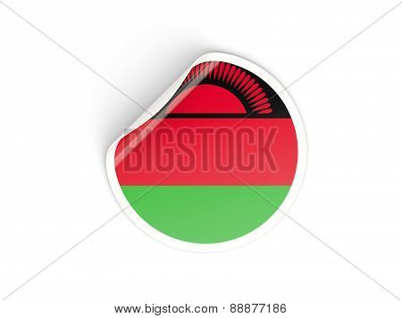 Round Sticker With Flag Of Malawi