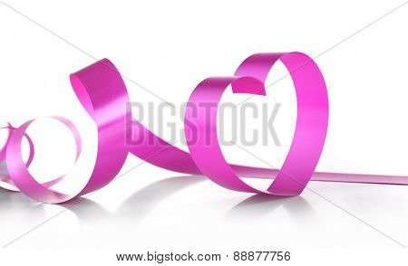 Purple hearts from ribbon isolated on white