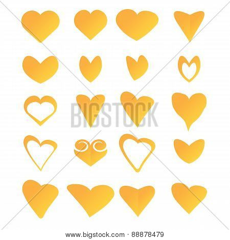 Vector hearts set. heart sign collection