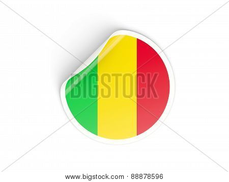 Round Sticker With Flag Of Mali
