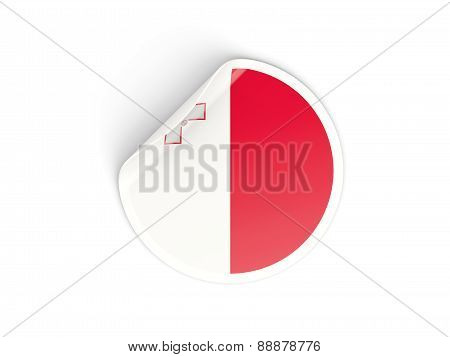 Round Sticker With Flag Of Malta