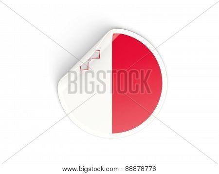 Round Sticker With Flag Of Malta