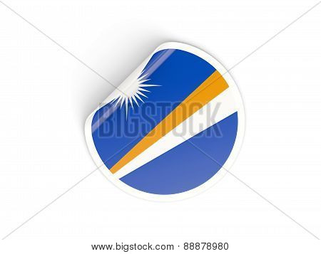 Round Sticker With Flag Of Marshall Islands