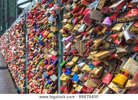 lockers at the Hohenzollern bridge in Cologne Germany
