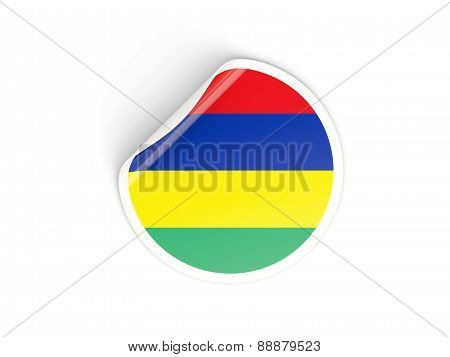Round Sticker With Flag Of Mauritius
