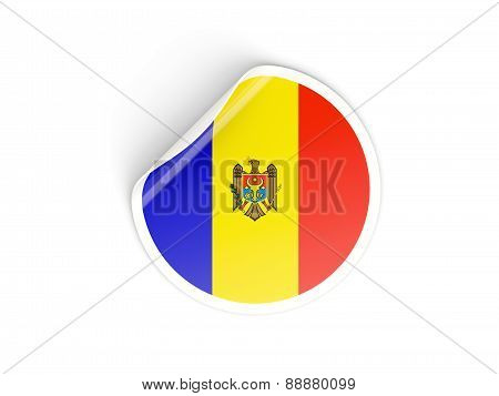 Round Sticker With Flag Of Moldova