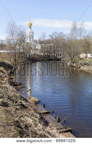Smolenka River and Church of the Resurrection. St. Petersburg.
