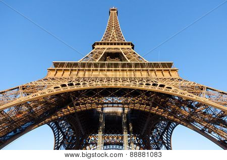 Bottom view of Eiffel Tower