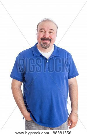 Optimistic Adult Guy In Blue Smiling At The Camera