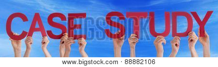 People Hands Holding Red Straight Word Case Study Blue Sky
