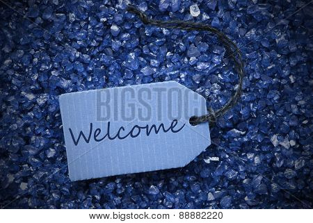 Purple Stones With Label Welcome