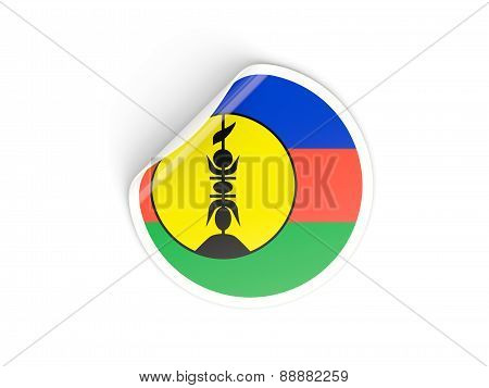 Round Sticker With Flag Of New Caledonia