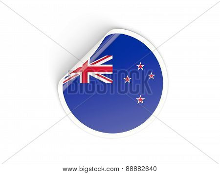 Round Sticker With Flag Of New Zealand