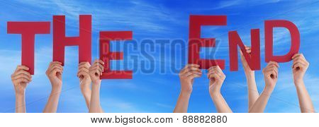 People Hands Holding Red Word The End Blue Sky