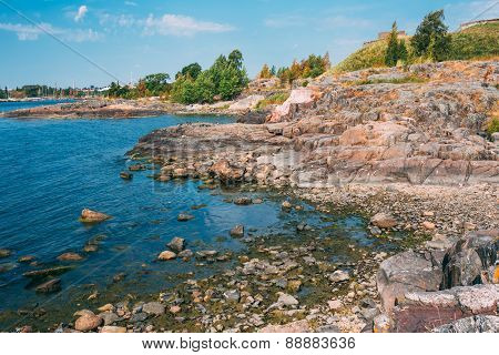 Rocky Seashore Landscape Near Helsinki, Nature Of Finland