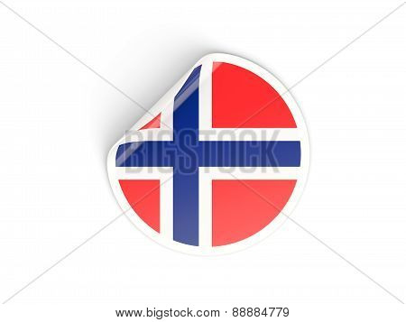 Round Sticker With Flag Of Norway