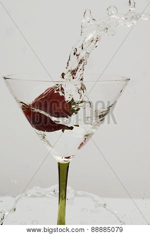 Strawberry Splash Martini Glass
