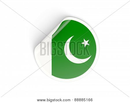 Round Sticker With Flag Of Pakistan
