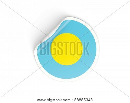 Round Sticker With Flag Of Palau