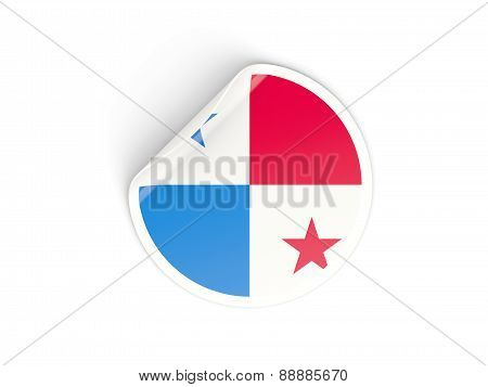 Round Sticker With Flag Of Panama