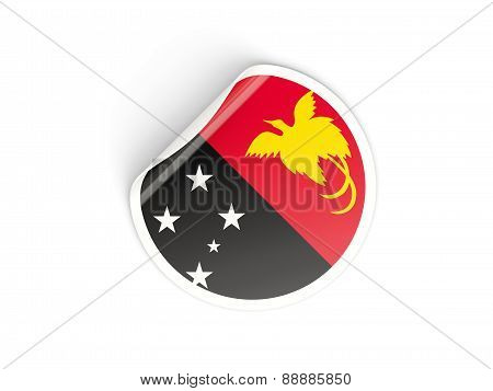 Round Sticker With Flag Of Papua New Guinea