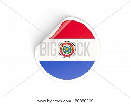 Round Sticker With Flag Of Paraguay