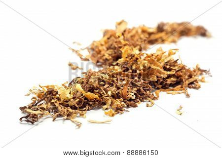 Loose Tobacco, Close Up Isolated On White